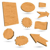 3d wood labels. Isolated on white background Royalty Free Stock Image