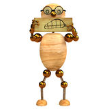3d wood man angry Royalty Free Stock Photo