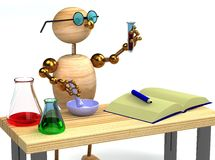3d wood man as chemist holding tube Royalty Free Stock Image