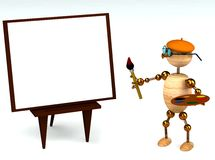 3d wood man as a painter Royalty Free Stock Photo