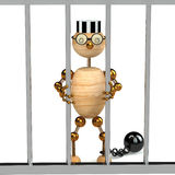 3d wood man as a prisoner Stock Images