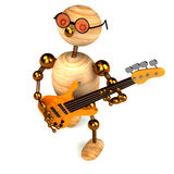 3d wood man bass guitar player. Isolated on white Stock Illustration