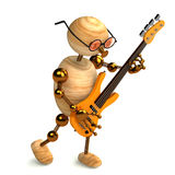 3d Wood Man Bass Guitar Player Stock Photo