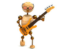 3d wood man bass guitar player Royalty Free Stock Photos