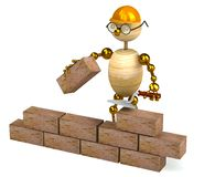 3d wood man builder. Isolated on white Royalty Free Stock Photos