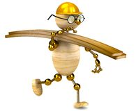 3d wood man carrying lumber Royalty Free Stock Photography