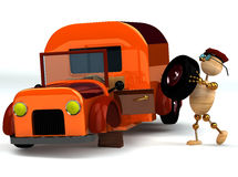 3d wood man change orange truck tire Royalty Free Stock Photo