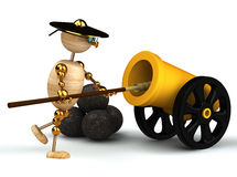 3d wood man clean yellow cannon Royalty Free Stock Photos
