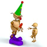 3d wood man clown with kid Stock Image