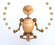 3d wood man meditation Royalty Free Stock Image