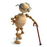 3d wood man old with walking stick Stock Photography
