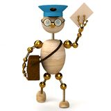 3d wood man postman  bring a letter Royalty Free Stock Photography