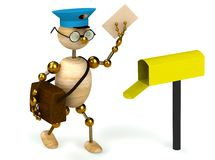 3d wood man postman  bring a letter Royalty Free Stock Photos