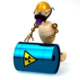 3d wood man with a radioactive waste. Isolated Stock Image