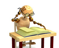 3d wood man reading book Royalty Free Stock Image