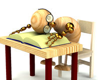 3d wood man sleeping on the book isolated on white Royalty Free Stock Images