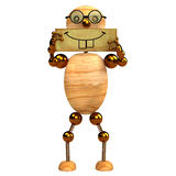 3d wood man smile Stock Photos