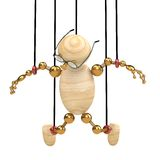 3d wood man suspended on laces. Isolated Royalty Free Stock Photos