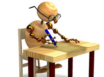 3d wood man is writing a letter isolated. 3d wood man is writing a letter Royalty Free Stock Image