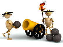 3d wood mans with a gold cannon. Isolated Stock Photos