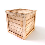 3d wooden box. On white background Royalty Free Stock Photo