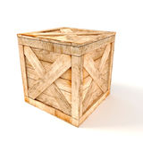 3d wooden box. On white background Royalty Free Stock Photography