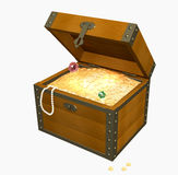 3d wooden box with treasures. Wooden box with treasures. Object over white Stock Image