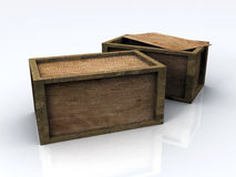 3D Wooden Boxes Royalty Free Stock Photos