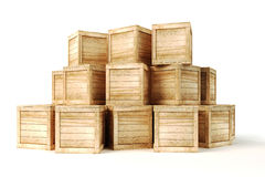 3d wooden boxes Stock Photos