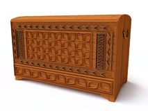 3D Wooden Chest Stock Photography
