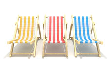 3d wooden deck chairs. 3d colorful wooden deck chairs with stripe pattern fabric isolated on white background Royalty Free Stock Image