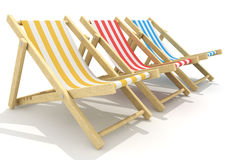 3d wooden deck chairs. 3d colorful wooden deck chairs with stripe pattern fabric Royalty Free Stock Photos