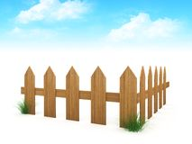 3d wooden fence Royalty Free Stock Images