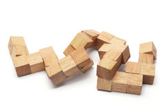 3D Wooden Puzzle. On White Background Royalty Free Stock Image