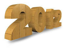 3D wooden render 2012 year on a white. With Save path for Change background Royalty Free Stock Images
