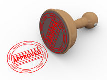 3d wooden rubber stamp - approved. 3d illustration of approved - wooden rubber stamp on white background Stock Photography
