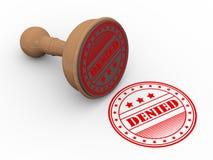 3d wooden rubber stamp denied. 3d illustration of word denied wooden rubber stamp Royalty Free Stock Image