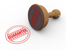 3d wooden rubber stamp guarantee Stock Image