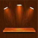3d Wooden Shelf. With lights Stock Photos