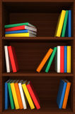 3d wooden shelves background with books Royalty Free Stock Image