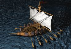 3D wooden ship Stock Photography