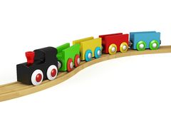 3d wooden toy train Stock Images