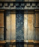 3d wooden wall, antique architecture background Stock Photos