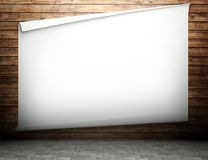 3d wooden wall with empty billboard Royalty Free Stock Image