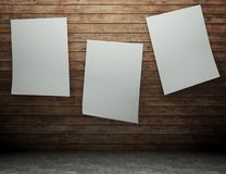 3d wooden wall with empty billboard Stock Photography