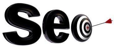 3d woord en doel van Seo Stock Afbeelding