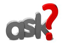 3D Word Ask on white background Stock Photo