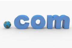 3D word COM. Earth spere replacing dot. Stock Photos