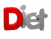 3D Word Diet on white background Stock Photos