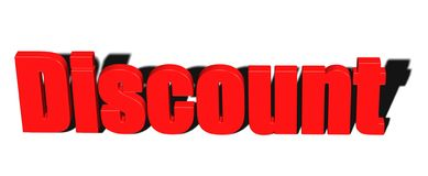 3D Word Discount in Red Stock Image
